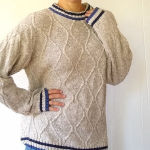 Vintage Chunky oversized cableknit Grandpa sweater